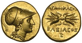 Sicily, Syracuse, Agathokles (317-289 BC), gold double decadrachm, helmeted head of Athena right, rev., ΑΓΑΘΟΚΛΕΟΣ ΒΑΣΙΛΕΟΣ; winged thunderbolt; monog...
