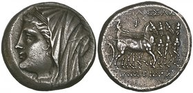 Sicily, Syracuse, Queen Philistis, wife of Hieron II (275-215 BC), 16 litrai, veiled bust left, rev., [ΒΑΣ]ΙΛΙΣΣΑΣ ΦΙΛΙΣΤΙΔΟΣ, Nike driving slow quadr...