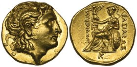 Kings of Thrace, Lysimachus (323-281 BC), gold stater, Pella, c. 296-281 BC, deified head of Alexander the Great right, rev., ΒΑΣΙΛΕΩΣ ΛΥΣΙΜΑΧΟΥ, Athe...