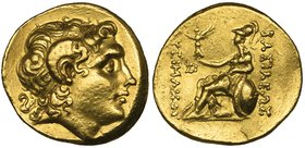 Kings of Thrace, Lysimachus (323-281 BC), gold stater, uncertain mint (Bithynia?), c. 250 BC, deified head of Alexander the Great right, rev., ΒΑΣΙΛΕΩ...