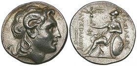 Kings of Thrace, Lysimachus (323-281 BC), tetradrachm, Lampsakos, c. 297-281 BC, deified head of Alexander the Great right, rev., ΒΑΣΙΛΕΩΣ ΛΥΣΙΜΑΧΟΥ, ...