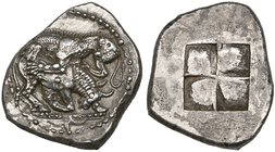 Macedon, Akanthos, tetradrachm, c. 480 BC, bull collapsing to right as it is attacked by lioness from above who bites into its rear quarters; in ex., ...
