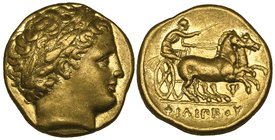 Kings of Macedon, Philip II (359-336 BC), gold stater, Pella, c. 340-328 BC, laureate head of Apollo right, rev., ΦΙΛΙΠΠΟΥ, biga driven right by chari...