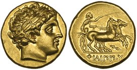 Kings of Macedon, Philip II (359-336 BC), gold stater, Pella, c. 323-315 BC, laureate head of Apollo right, rev., ΦΙΛΙΠΠΟΥ, biga driven right by chari...