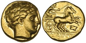 Kings of Macedon, Philip II (359-336 BC), gold stater, Amphipolis, c. 340-328 BC, laureate head of Apollo right, rev., ΦΙΛΙΠΠΟΥ, biga driven right by ...