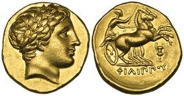 Kings of Macedon, Philip II (359-336 BC), gold stater, Amphipolis, c. 323-315 BC, laureate head of Apollo right, rev., ΦΙΛΙΠΠΟΥ, biga driven right by ...