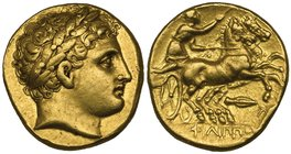 Kings of Macedon, Philip II (359-336 BC), gold stater, Magnesia, c. 323-317 BC, laureate head of Apollo right, rev., ΦΙΛΙΠΠΟΥ, biga driven right by ch...