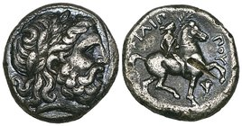 Kings of Macedon, Philip II (359-336 BC), tetradrachm, Amphipolis, c. 348-342 BC, laureate head of Zeus right, rev., ΦΙΛΙΠ-ΠΟΥ, youth on horseback rig...