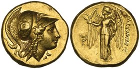 Kings of Macedon, Alexander III (336-323 BC), gold distater, Amphipolis, c. 330-320 BC, helmeted head of Athena right, rev., ΑΛΕΞΑΝΔΡΟΥ, Nike standing...