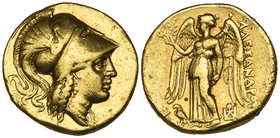 Kings of Macedon, Alexander III (336-323 BC), gold stater, uncertain Greek or Macedonian mint, c. 325-310 BC, helmeted head of Athena right, rev., ΑΛΕ...