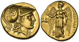 Kings of Macedon, Alexander III (336-323 BC), gold stater, Lampsakos, c. 328-323 BC, helmeted head of Athena right, rev., ΑΛΕΞΑΝΔΡΟΥ, Nike standing le...