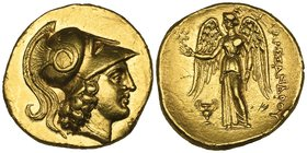 Kings of Macedon, Alexander III (336-323 BC), gold stater, Tarsos, c. 333-327 BC, helmeted head of Athena right, rev., ΑΛΕΞΑΝΔΡΟΥ, Nike standing left ...