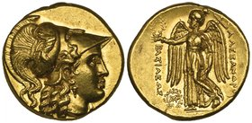 Kings of Macedon, Alexander III (336-323 BC), gold stater, Babylon, c. 311-305 BC, helmeted head of Athena right, rev., ΑΛΕΞΑΝΔΡΟΥ, Nike standing left...