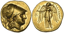 Kings of Macedon, Alexander III (336-323 BC), gold stater, uncertain mint, helmeted head of Athena right, rev., ΑΛΕΞΑΝΔΡΟΥ, Nike standing left holding...