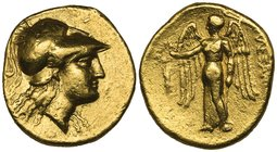 Kings of Macedon, Alexander III (336-323 BC), gold stater, uncertain mint, helmeted head of Athena right, rev., Nike standing left holding stylis and ...