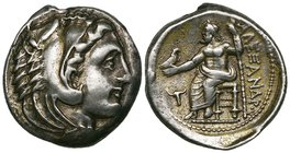 Kings of Macedon, Alexander III (336-323 BC), tetradrachm, Amphipolis, head of Herakles right in lion skin headdress, rev., ΑΛΕΞΑΝΔΡΟΥ, Zeus seated le...