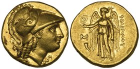 Kings of Macedon, Philip III (323-317 BC), gold stater, Abydos, helmeted head of Athena right, rev., ΦΙΛΙΠΠΟΥ, Nike standing left holding stylis and w...