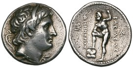 Kings of Macedon, Demetrius Polioketes (294-288 BC), tetradrachm, Pella, diademed and horned head right, rev., ΒΑΣΙΛΕΩΣ ΔΗΜΗΤΡΙΟΥ, Poseidon standing l...
