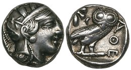 Attica, Athens, tetradrachm, later 5th century BC, helmeted head of Athena right, rev., ΑΘΕ, owl standing right with head facing; to left, olive spray...