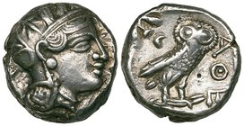 Attica, Athens, tetradrachm, eastern imitation, 4th century BC, helmeted head of Athena right, rev., ΑΘΕ, owl standing right with head facing, 17.16g,...