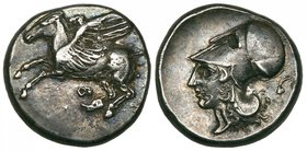 Corinthia, Corinth, stater, c. 400-350 BC, Pegasos flying left, rev., helmeted head of Athena left; behind, torch, 8.58g, die axis 12.00 (Ravel obv. d...