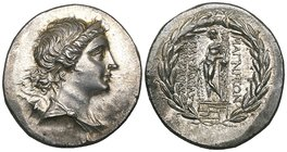 Ionia, Magnesia ad Maeandrum, tetradrachm, c. 150 BC, diademed head of Artemis right, quiver at shoulder, rev., ΜΑΓΝΗΤΩΝ, Apollo standing left, leanin...