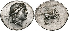 Caria, Alabanda, tetradrachm, 167/6 BC, laureate head of Apollo right, rev., ΑΛΑΒ-ΑΝΔΑΙΩΝ, Pegasos flying right; below, A (year 1), 16.75g, die axis 1...