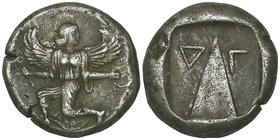 Caria, Kaunos, stater, c. 400 BC, winged figure running left, looking back, rev., triangular baetyl flanked by Carian letters, 11.59g, die axis 12.00 ...