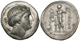 Pamphylia, Perge, tetradrachm, 3rd to 2nd century BC, laureate head of Apollo right, quiver at shoulder, rev., ΑΡΤΕΜΙΔΟΣ ΠΕΡΓΑΙΑΣ, Artemis standing le...