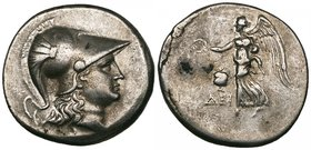 Pamphylia, Side, tetradrachm, c. 205-100 BC, helmeted head of Athena right, rev., Nike advancing left with wreath; to left, pomegranate and ΔΕΙ, 16.42...