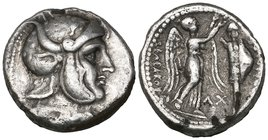 Kings of Syria, Seleucus I (312-280 BC), drachm, Susa, c. 305/4-295 BC, heroic head right wearing helmet adorned with panther skin and bull's horns an...