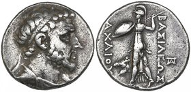 Kings of Syria, Achaios (220-214 BC) , tetradrachm, Sardes, diademed and draped bust right, rev., ΒΑΣΙΛΕΩΣ ΑΧΑΙΟΥ, Athena Promachos advancing left, ho...