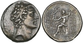 Kings of Syria, Antiochos IV (175-164 BC), tetradrachm, Ake-Ptolemais, diademed head right, rev., Zeus seated left holding Nike and sceptre; to left, ...