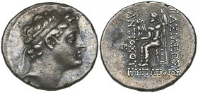 Kings of Syria, Antiochos V (164-162 BC), tetradrachm, Antioch, diademed head right, rev., Zeus seated left holding Nike and sceptre, 16.86g, die axis...