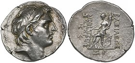 Kings of Syria, Demetrios I (162-150 BC), tetradrachm, Antioch, 153/2 BC, diademed head right, rev., Tyche seated left holding sceptre and cornucopia;...