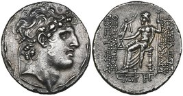 Kings of Syria, Alexander I (150-145 BC), tetradrachm, Antioch, 147/6 BC, diademed head right, rev., Zeus seated left; below, CΞΡ (year 166) and monog...