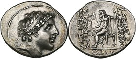Kings of Syria, Alexander I, tetradrachm, Antioch, 147/6 BC, diademed head right, rev., Zeus seated left; below, CΞΡ (year 166), 14.90g, die axis 12.0...
