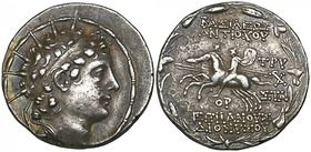Kings of Syria, Antiochos VI (145-142 BC), tetradrachm, Antioch, 143/2 BC (under the regency of Tryphon), radiate and diademed head right, rev., the D...