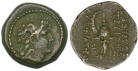 Kings of Syria, Tryphon, Ae 17 mm (2), Antioch, head right, rev., helmet as before; symbols of star and caps of the Dioscuri (SC 2034.2d and e; SNG Sp...