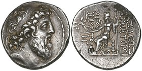 Kings of Syria, Demetrios II, 2nd reign (129-125 BC), tetradrachm, Antioch, diademed and bearded head right, rev., Zeus seated left holding Nike and s...