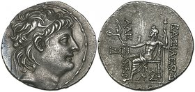 Kings of Syria, Alexander II (128-123 BC), tetradrachm, Antioch, diademed head right, rev., Zeus seated left holding Nike and sceptre; in left field, ...