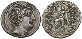 Kings of Syria, Antiochos VIII (121-96 BC), tetradrachm, Antioch, diademed head right, rev., Zeus seated left; on left, ΡΕ monogram over Α; below seat...