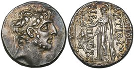 Kings of Syria, Antiochos IX (113-95 BC), tetradrachm, Antioch, diademed and bearded head right, rev., Athena standing left; on left, monogram over A;...