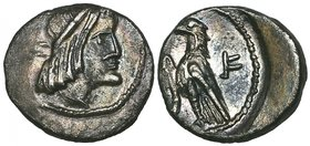 Nabataea, Syllaeus (c. 9-6 BC), hemidrachm, diademed head right, rev., eagle standing left, 2.18g, die axis 12.00 (Meshorer 40; Sofaer 28; Huth 59), r...