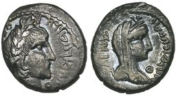 Nabataea, Aretas IV (c. 9 BC-AD 40), drachm, laureate bust right, rev., veiled bust of his wife Huldu right, 4.25g (Meshorer 49; Sofaer 37 sic; Huth 6...