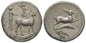 Sicily Tetradrachm, Messina, 410-405 BC, AG 17,29g. Ref : Cattabiano 492 (D200/R201), Jameson 649 Provenance : NGSA 4, 11/12/2006, lot 35. Extremely f...