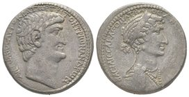 Cleopatra VII and Marcus Antonius. Tetradrachm, Antiochia ad Orontem or Phoenician mint, circa 36 BC, AG 14,9 g. Obverse : BACILICCA KLEOPATPA - QEA N...