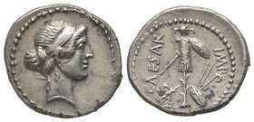 Julius Caesar, Denarius, mint moving with Octavian, Italy or Cisalpine Gaul, 44 BC, AG 3,97 g. Ref : Cr. 482/1, Syd. 1016 Provenance : CNG Triton XII,...