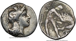 CALABRIA. Tarentum. 4th century BC. AR diobol (12mm, 9h). NGC VF. Ca. 325-280 BC. Head of Athena right, wearing crested Attic helmet decorated with fi...