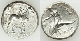 CALABRIA. Tarentum. Ca. early 3rd century BC. AR stater or didrachm (21mm, 7.51 gm, 12h). Choice VF, porosity. Philiarchus, Sa- and Aga-, magistrates....
